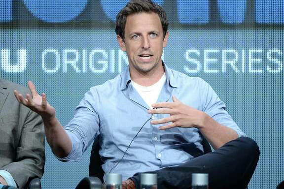 BEVERLY HILLS, CA - JULY 31:  Co-Creator/Writer/Actor Seth Meyers speaks onstage during the 'The Awesomes' portion of the Hulu 2013 Summer TCA Tour at The Beverly Hilton Hotel on July 31, 2013 in Beverly Hills, California.  (Photo by Michael Kovac/Getty Images for Hulu)