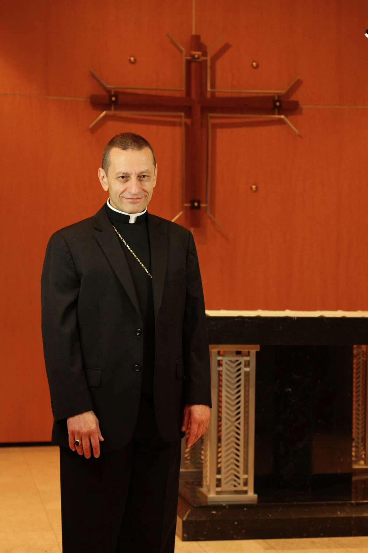 Auxiliary Bishop Frank J. Caggiano of the Roman Catholic Diocese of Brooklyn, poses at diocesan headquarters in Brooklyn, NY on Thursday Aug. 1, 2013. Bishop Caggiano will be installed as the bishop of the Diocese of Bridgeport, Conn., on Sept. 19, 2013.