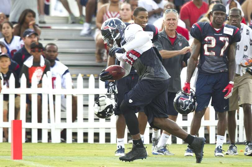 Texans wide receiver Andre Johnson runs along the sidelines into the end zone.