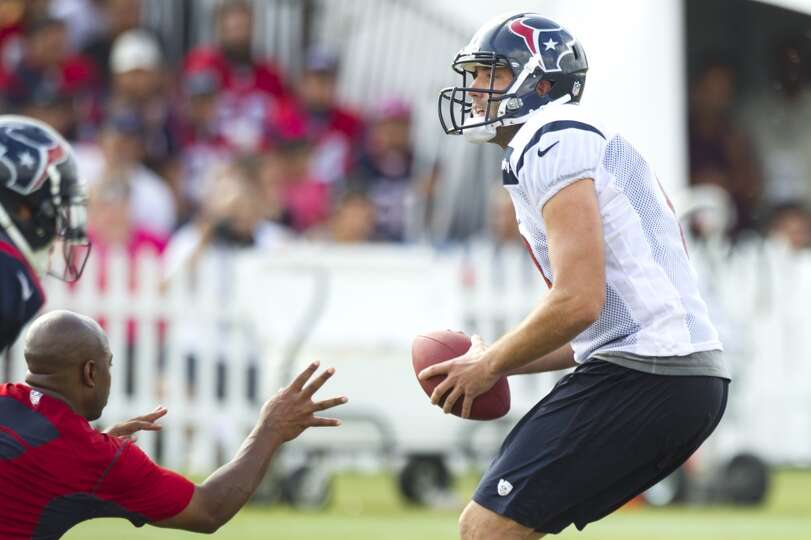 Texans quarterback Matt Schaub drops back to pass.