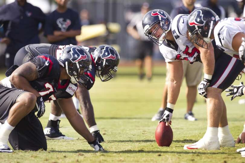 Texans center Chris Myers lines up against nose tackle David Hunter.