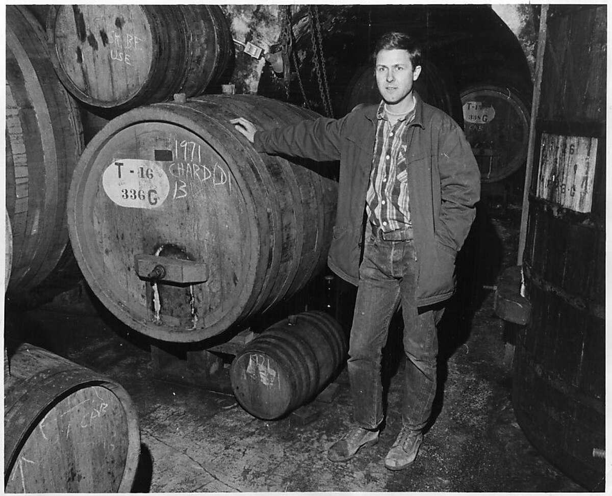 Bob Travers of Mayacamas Winery in his aging cellar, December 13, 1971.