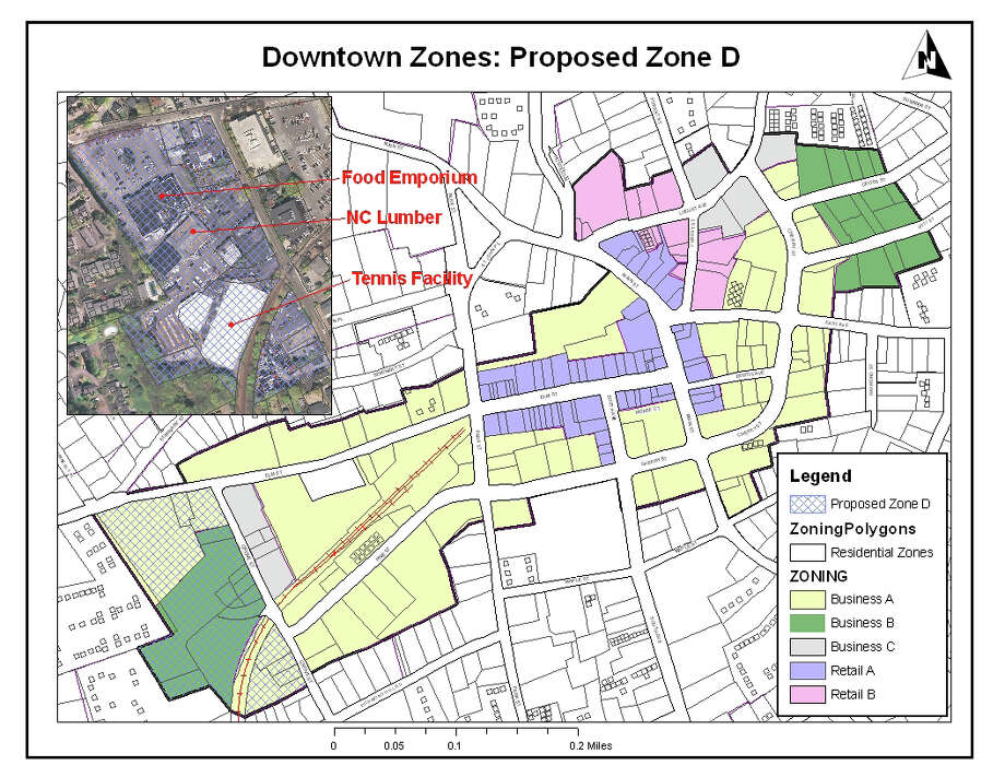 The Planning & Zoning Commission discussed changing Zone B, located on the western peripheriphy of downtown New Canaan, to be called Zone D, though none of the code would be changed immediately. Some in town are none too pleased. Photo: Contributed