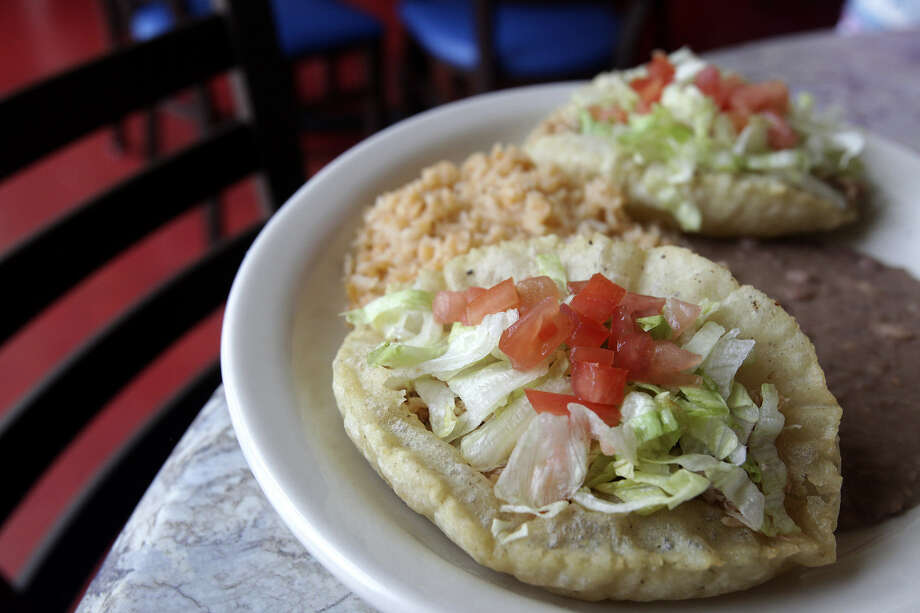 The San Antonio staple of puffy tacos are rendered well at Viola's Ventanas, with pillowy shells that are not greasy. Photo: Photos By Abbey Oldham / San Antonio Express-News