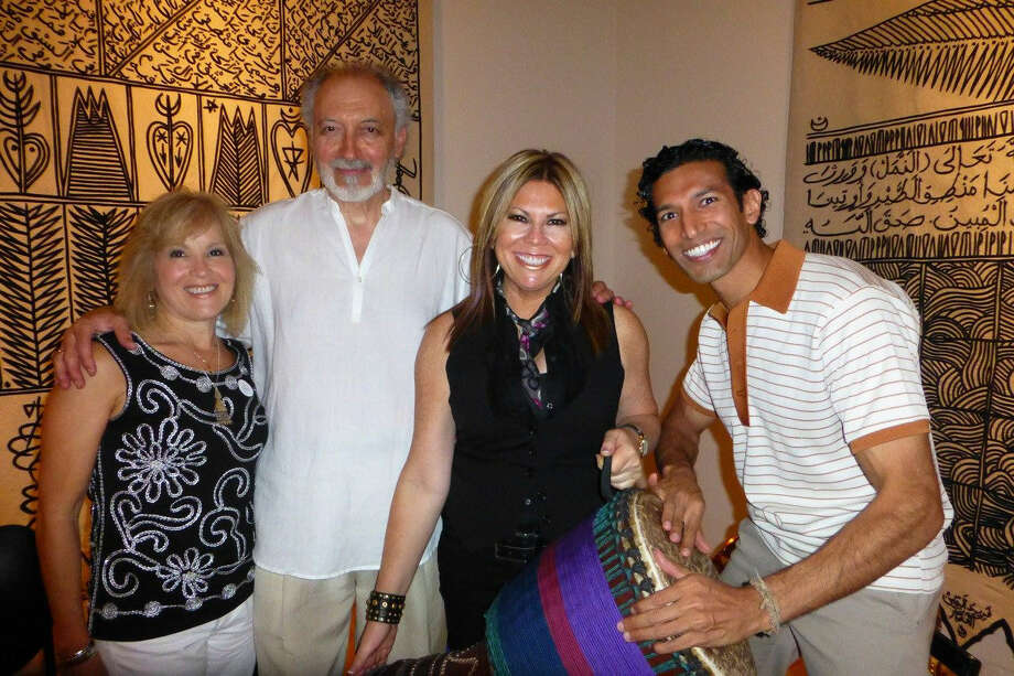 "At an ""Evening of Poetry and Improvisational Jazz"" at the San Antonio Museum of Art, Sara Al-Jundi and her husband, poet Assef Al-Jundi (from left) percussionist Nina Rodriguez and Suhail Arastu were among those attending and entertaining."