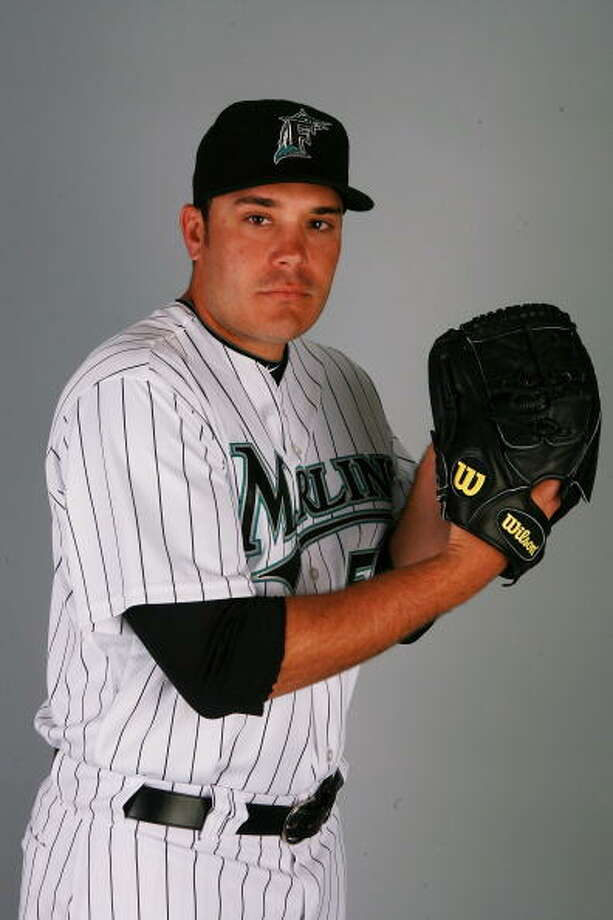 JUPITER, FL - MARCH 02:  Pitcher Hunter Jones #54 of the Florida Marlins poses during photo day at Roger Dean Stadium on March 2, 2010 in Jupiter, Florida. Photo: Doug Benc, Getty Images / Getty Images