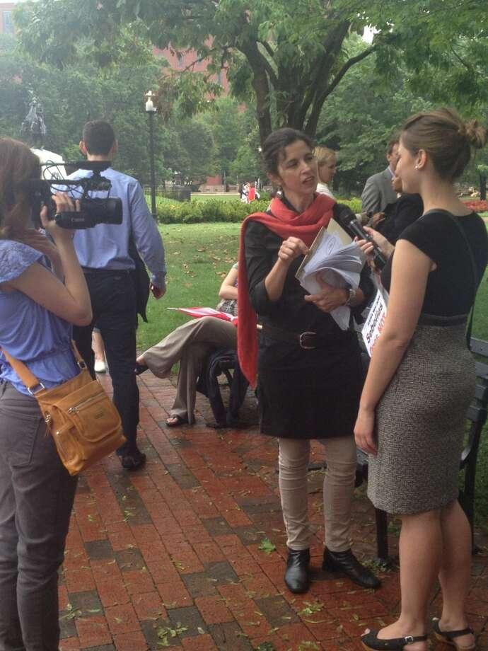 Organizer Helen Alvaré is interviewed before the Women Speak For Themselves demonstration in Washington D.C.  August 1, 2013
