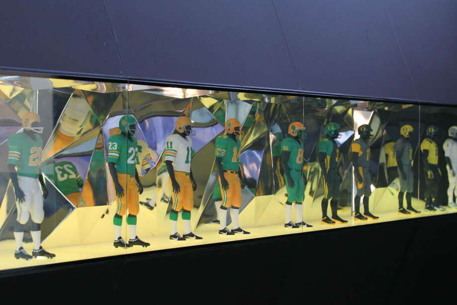 In the lobby, miniature mannequins show off the Ducks' basic uniforms through the decades. We're just assuming there's not enough room for every unique uniform variation Oregon has worn through the past few seasons.  Photo: Eric Evans, GoDucks.com