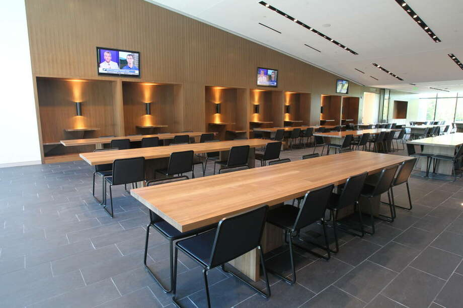 Here's the dining room. All things considered, it looks to be one of the less ornate rooms in Oregon's new complex. Yet it features six big-screen TVs, booth tables and room for more than 200 people, Oregon said.  Photo: Eric Evans, GoDucks.com