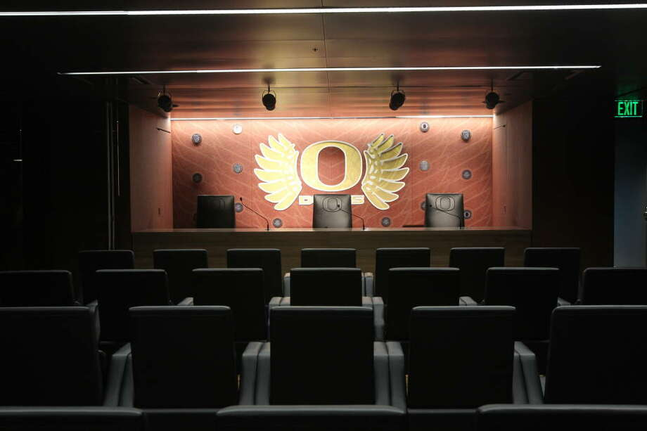 When you're going for spectacle, you can't skimp on the post-game press conferences. Here is one of two auditoriums in the new football complex. This one will be used for post-game pressers and also features four ''confessional booths'' for one-on-one media interviews, Oregon said.  Photo: Eric Evans, GoDucks.com