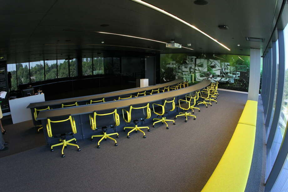 This is a positional meeting room -- one of them. Specifically, this is the meeting room for wide receivers. There are several such rooms in the new Oregon complex.  Photo: Eric Evans, GoDucks.com