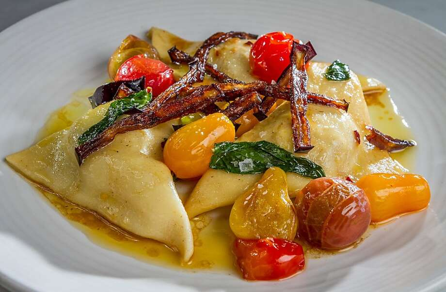 The pansotti at A16 in Oakland is filled with ricotta cheese and roasted eggplant and garnished with cherry tomatoes. Photo: John Storey, Special To The Chronicle