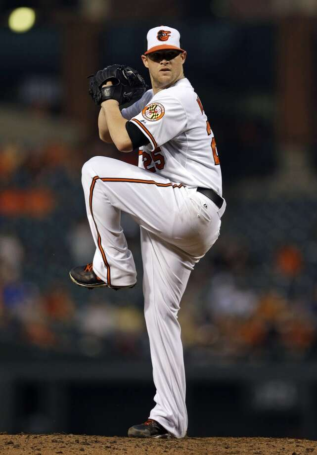 Bud Norris of the Orioles delivers a pitch to the Astros. Photo: Patrick Semansky, Associated Press