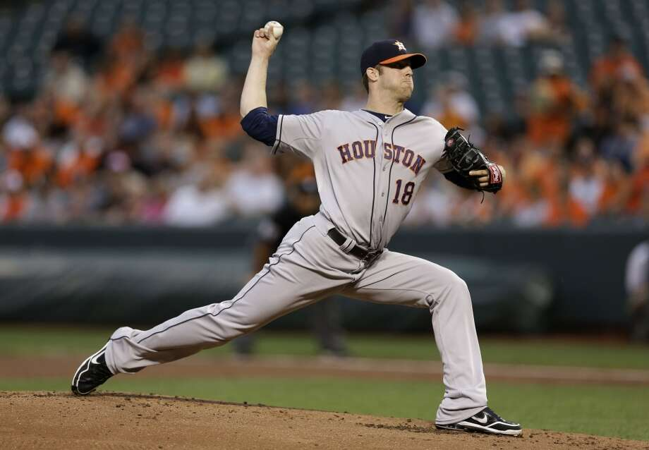 Astros pitcher Jordan Lyles delivers a throw to the Orioles. Photo: Patrick Semansky, Associated Press