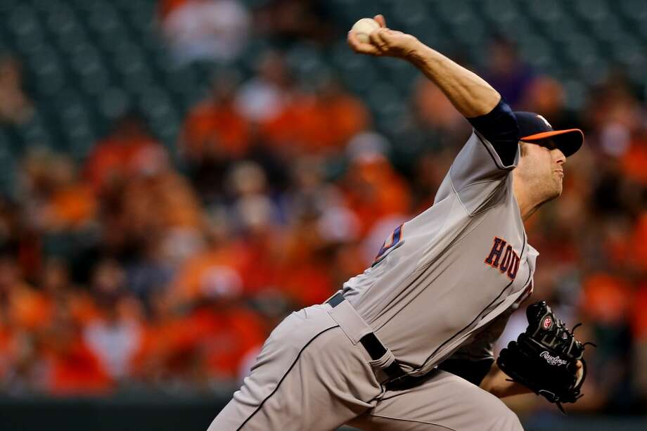Jordan Lyles of the Astros delivers a pitch to the Orioles. Photo: Patrick Smith, Getty Images