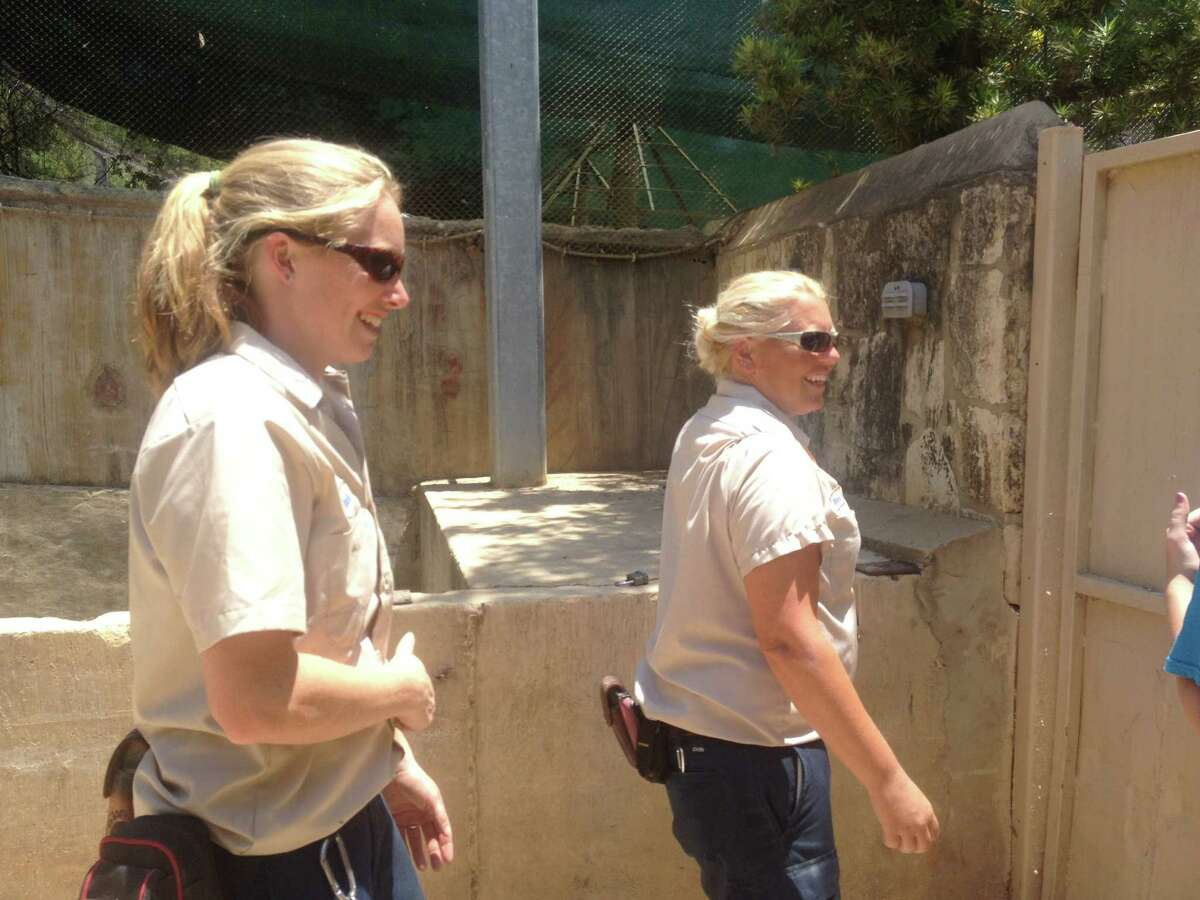 Zookeepers Rachel Malstaff and Melanie Lough at the San Antonio Zoo.