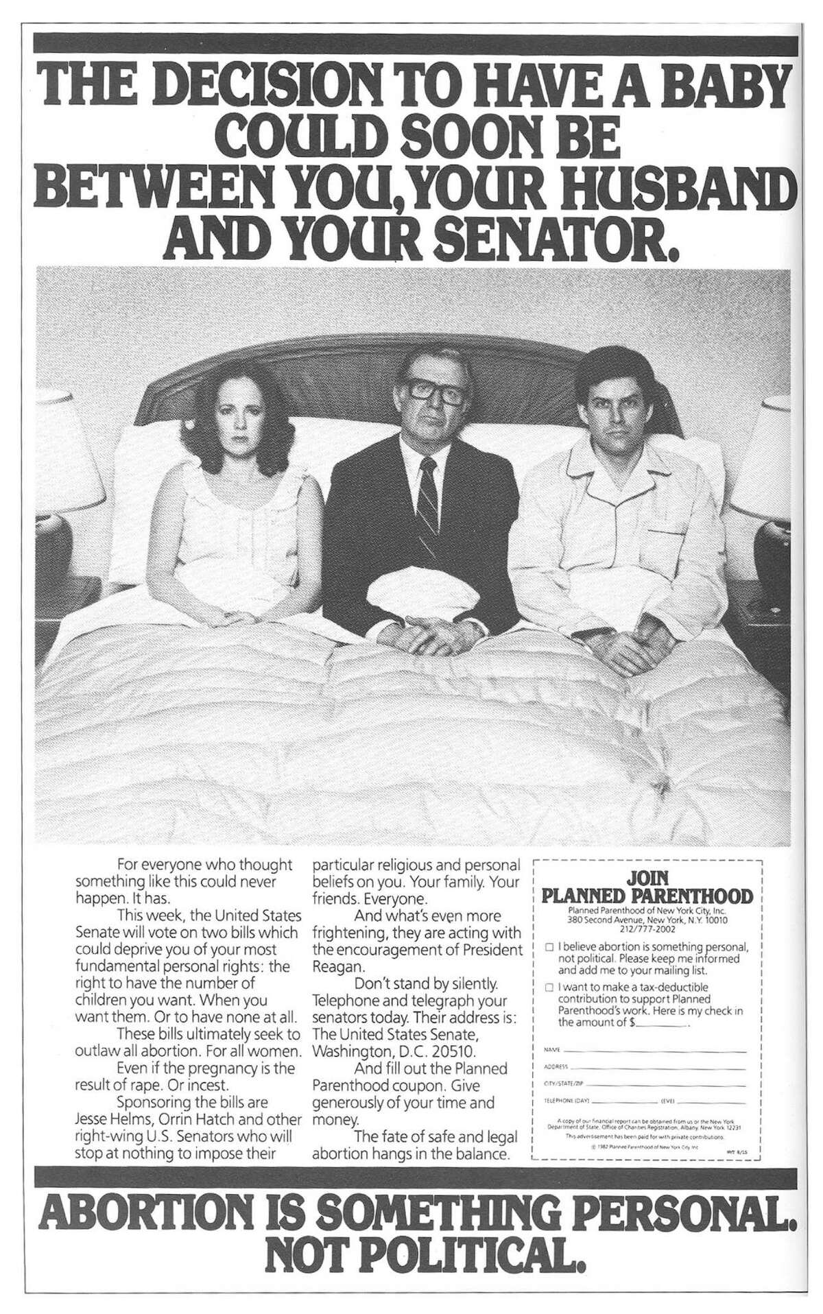 A print ad by Levine Huntley that ran in 1982 for Planned Parenthood.