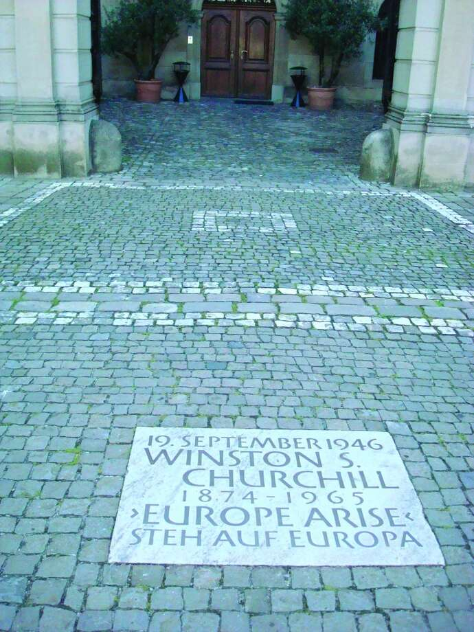 "A carved stone marks a spot near where Sir Winston Churchill gave his famous ""Europe Arise"" speech. Photo: Sandy Rao, For The Express-News"