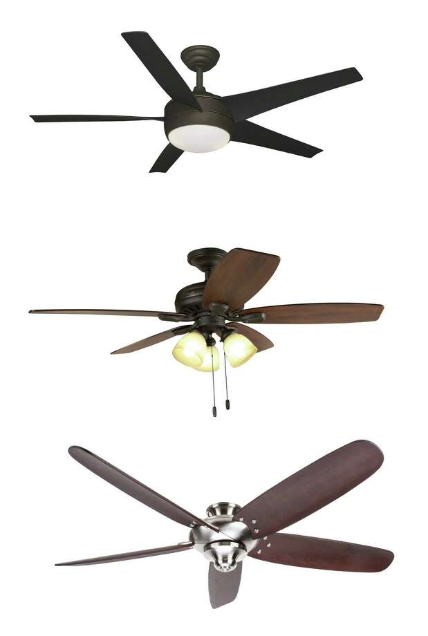 Ceiling fans can be design-conscious as well as functional. Three examples from top to bottom: Hampton Bay's 52-inch Windward IV fan in oil-rubbed bronze; 52-inch Highbury bronze ceiling fan from Hunter; Hampton Bay's 68-inch brushed nickel Altura. Photo: Courtesy Home Depot