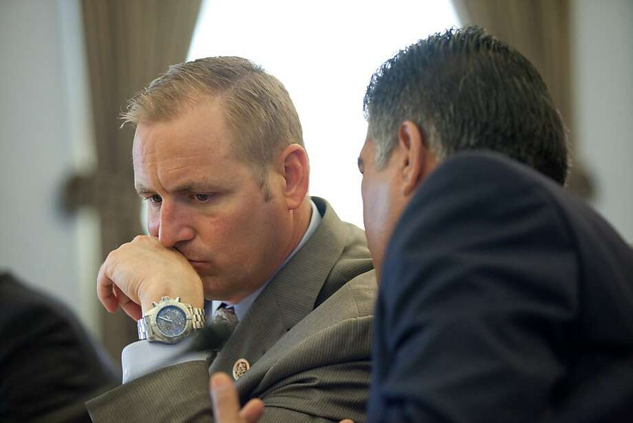 Reps. Jeff Denham (left) and Tony Cardenas talk immigration. Photo: Lance Rosenfield, Special To The Chronicle