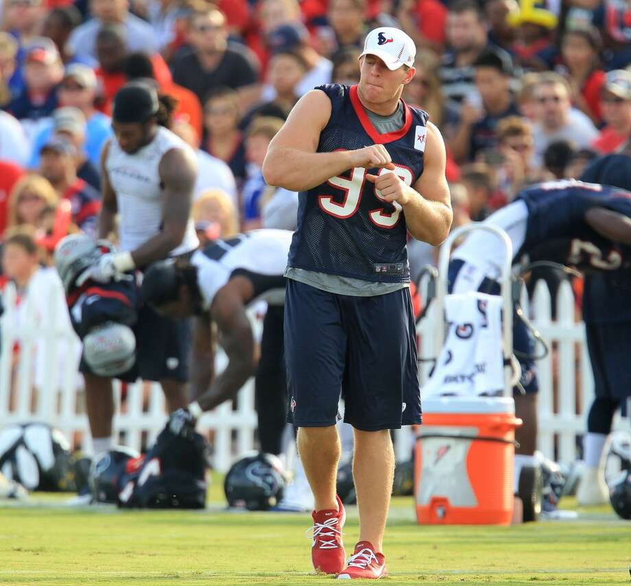 Defensive end J.J. Watt dances to some music at camp. Photo: Karen Warren, Chronicle