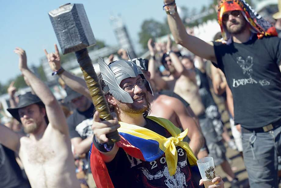 You were expecting Ironman, perhaps? Thor shows up at the Wacken heavy metal fest in Wacken, Germany. Hammered, as usual. Photo: Patrick Lux, Getty Images