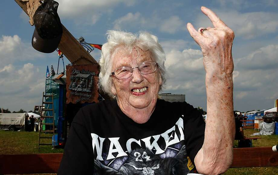 Grandma's ready to rock: Metal-heads come from all walks off life, including the senior set, as this 90-year-old, unidentified music fan demonstrates at the Wacken Open Air Festival. We're not sure if she's more into black metal or thrash metal. Photo: Axel Heimken, AFP/Getty Images