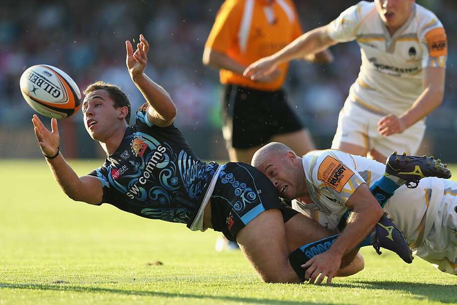 Head-butting is not permitted in rugby, but butt-heading is perfectly acceptable: Paul Hodgson of the Worcester Warriors tackles Luke Treharne of the Exeter Chiefs during a J.P. Morgan Asset Management Premiership Rugby 7's match in Gloucester, England. Photo: David Rogers, Getty Images
