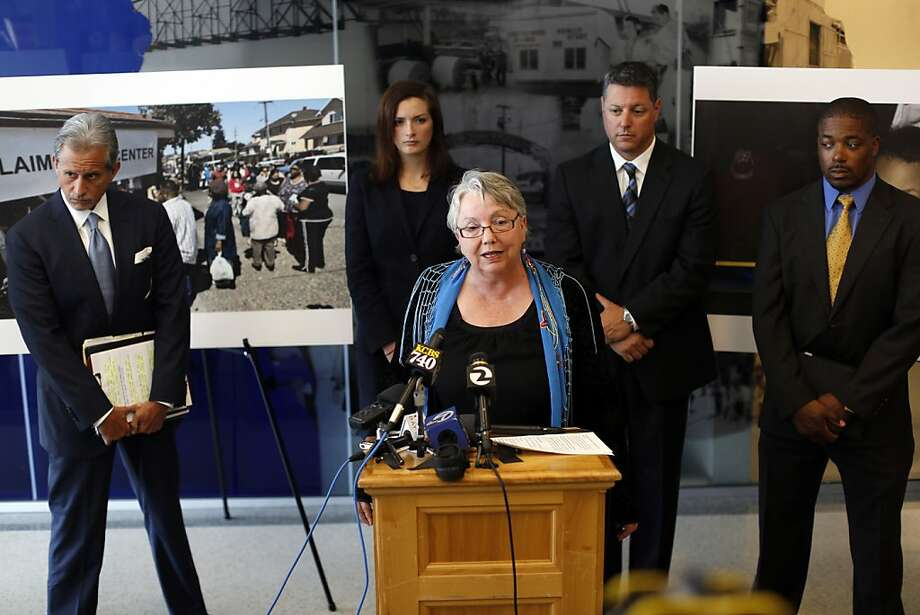 Richmond Mayor Gayle McLaughlin speaks to the media during a press conference about the City of Richmond's lawsuit against Chevron after a fire broke out in their refinery last year in Richmond, Calif. on August 2, 2013. Photo: Ian C. Bates, The Chronicle