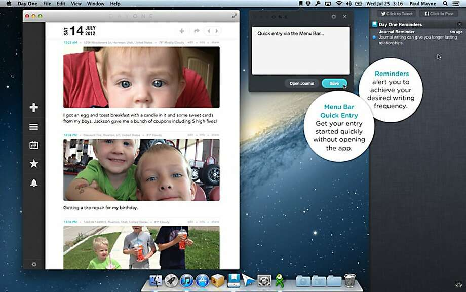 Day One allows those who journal to digitize their diaries. Photo: Mac App Store