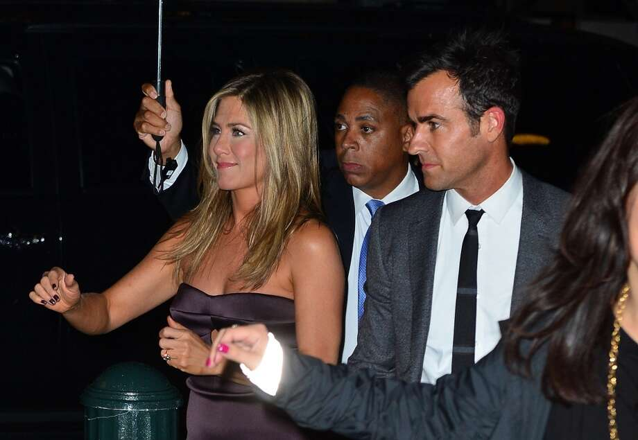 Jennifer Aniston and Justin Theroux attend 'We're The Millers' New York Premiere after-party at Bryant Park Grill on August 1, 2013 in New York City. Photo: James Devaney, WireImage