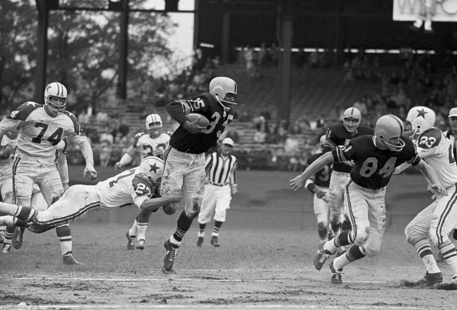 John Henry JohnsonFullback Time with the Oilers: 1966Year of HOF induction: 1987  Spent the final season of his playing career with the Oilers in the AFL.  Photo: Associated Press File Photo