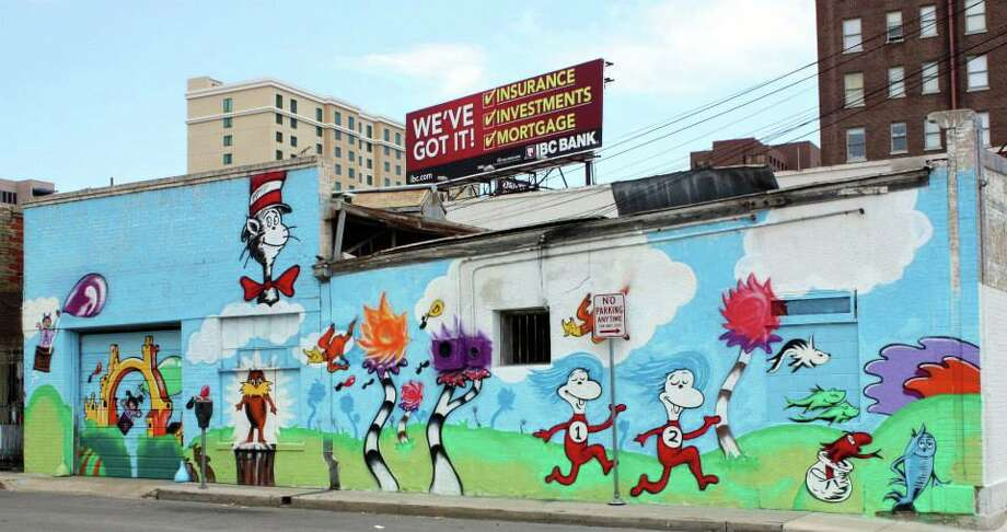 The Little Patch mural depicts Dr. Suess characters. The concept sketch was done by Rashid. Photo: Emily Bamforth, Express-News