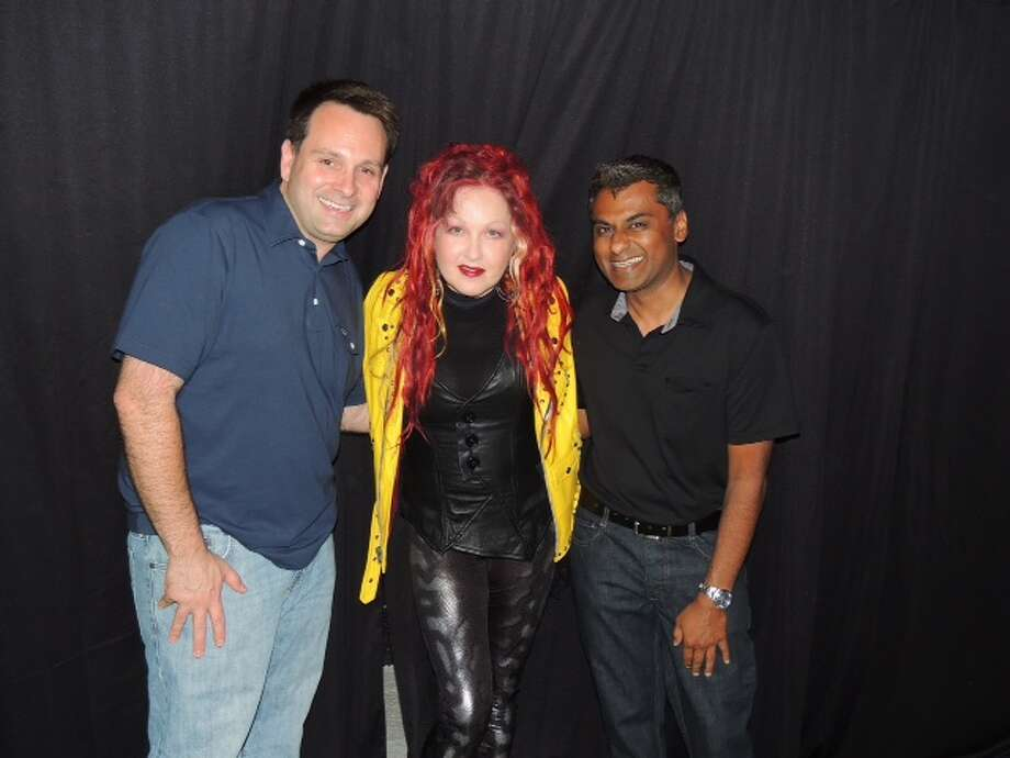 Greenwich Selectman Drew Marzullo, Cyndi Lauper and Reynold Jaglal at Lauper's concert at the Capitol Theatre in Port Chester on July 12. Photo: Advocate