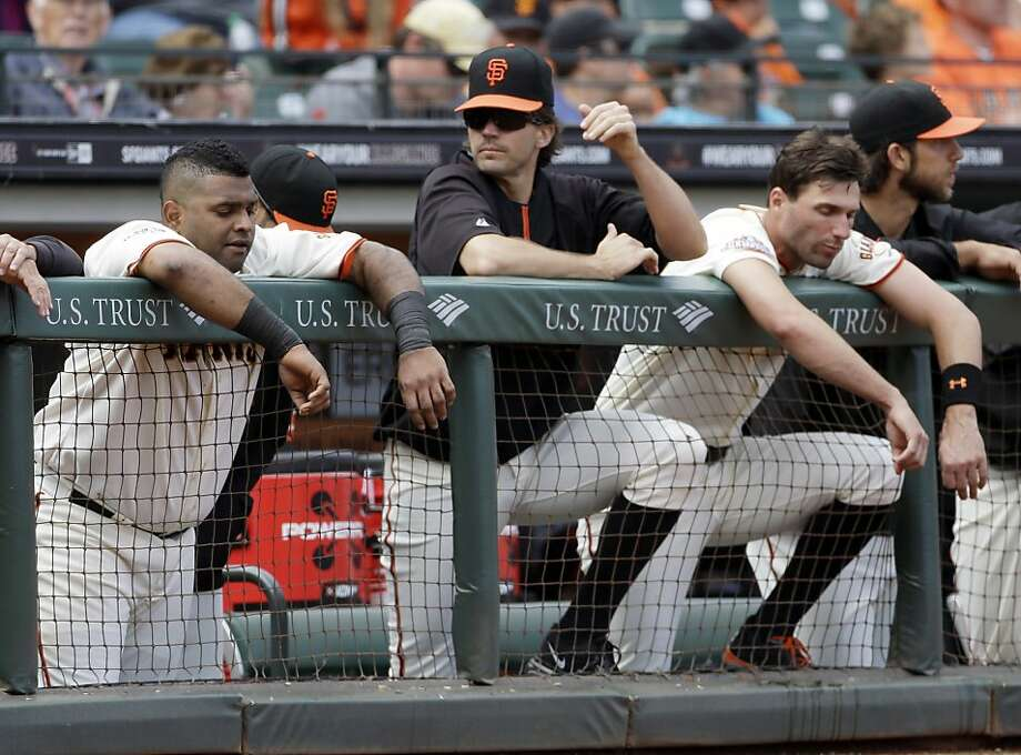 It's been a long summer for (from left) Pablo Sandoval, Barry Zito, Jeff Francoeur and Madison Bumgarner ... and their fans. Photo: Eric Risberg, Associated Press