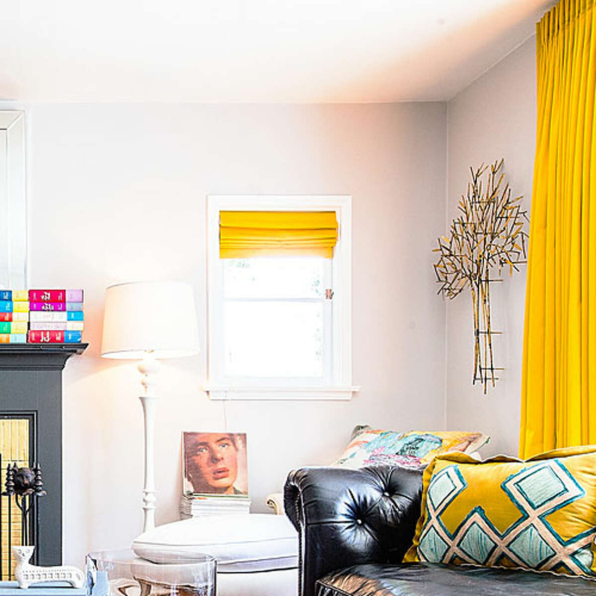 Set a neutral backdrop A cool gray paint on the wall-this one has a touch of blue-looks crisp in most lights and serves as a solid base for bolder touches like the yellow elements shown here. Stone RLUL221; ralphlaurenhome.comRead more: Top trips in California