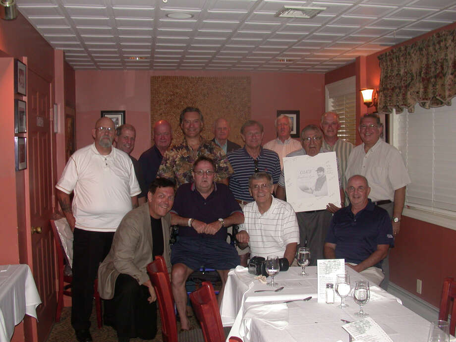 The Grove Circle gang gathers together for a recent photo. On the front row, from left: John Kerecz, Jim Costello, Joe Wiedl and  Bill Reilly. On the back row, from left: Ron Martin, Mark Francoeur, Rick Needham, Bob Perschel, Dick Janes, Ken LaVasseur, Joe Injaychock, Coach Vito DeVito, George Dimitruk and Mike Sasuta. Photo: Contributed Photo