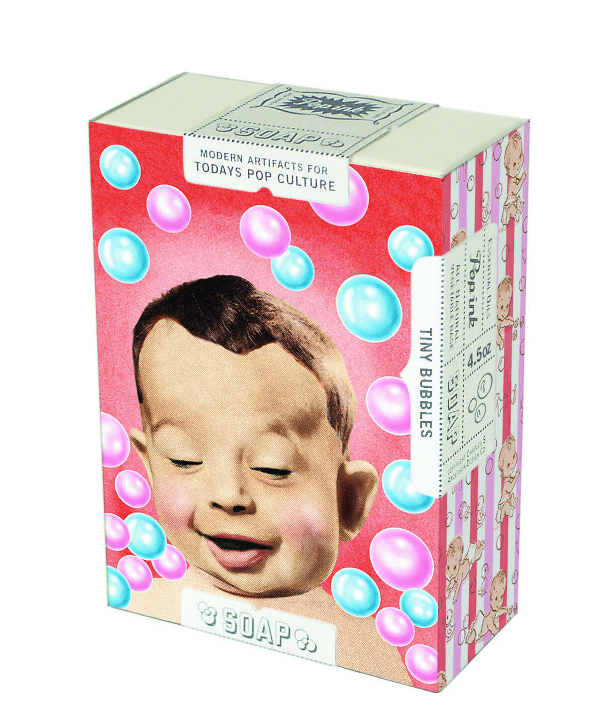 """From """"Graphic Design: Now in Production"""" at CAMH through Sept. 29: """"Tiny Bubbles Soap, Pop Ink brand,"""" 2006, Charles S. Anderson Design. You can also buy it in the gift shop."""