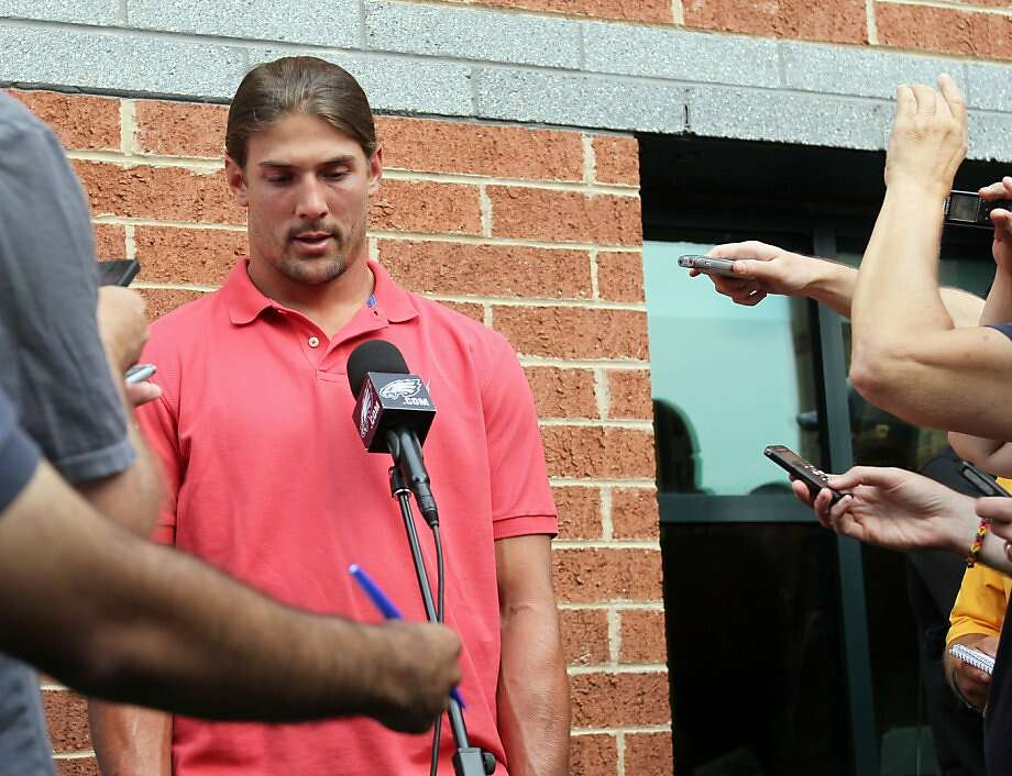 Philadelphia wide receiver Riley Cooper, meeting with reporters Wednesday, apologized for making a racial slur in June. He told the team that he has received recent threats. Photo: Yong Kim, Associated Press