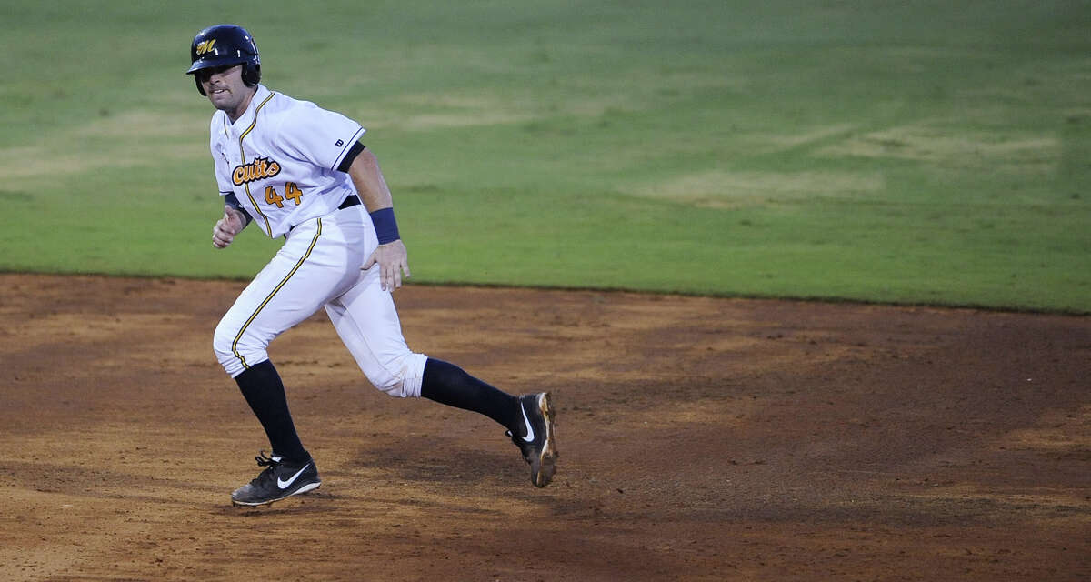 Montgomery Biscuits catcher Curt Casali heads to third against the Jacksonville Suns in the first game of a double header at Riverwalk Stadium in Montgomery, Ala. on Thursday July 25, 2013. (Mickey Welsh, Montgomery Advertiser)