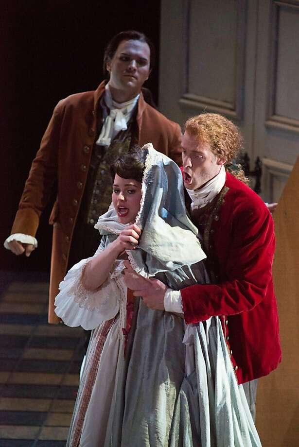 "John Arnold (Figaro), Maria Valdes (Susanna) in the Merola Opera production of Mozart's ""Marriage of Figaro."" Photo: Kristen Loken"