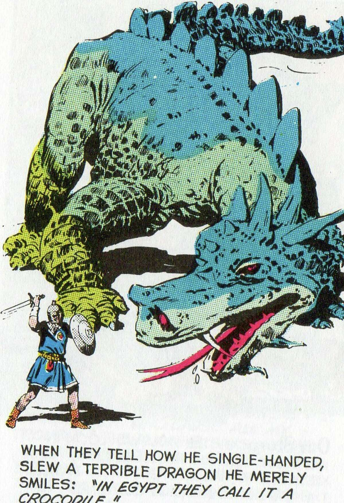 Valiant faces the dragon, err, crocodile, as depicted by John Cullen Murphy.