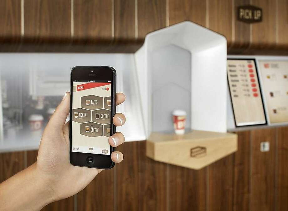 The Briggo robotic coffee dispenser lets customers order on its touch-screen or through a smartphone app. Photo: Casey Dunn, Courtesy Of Briggo