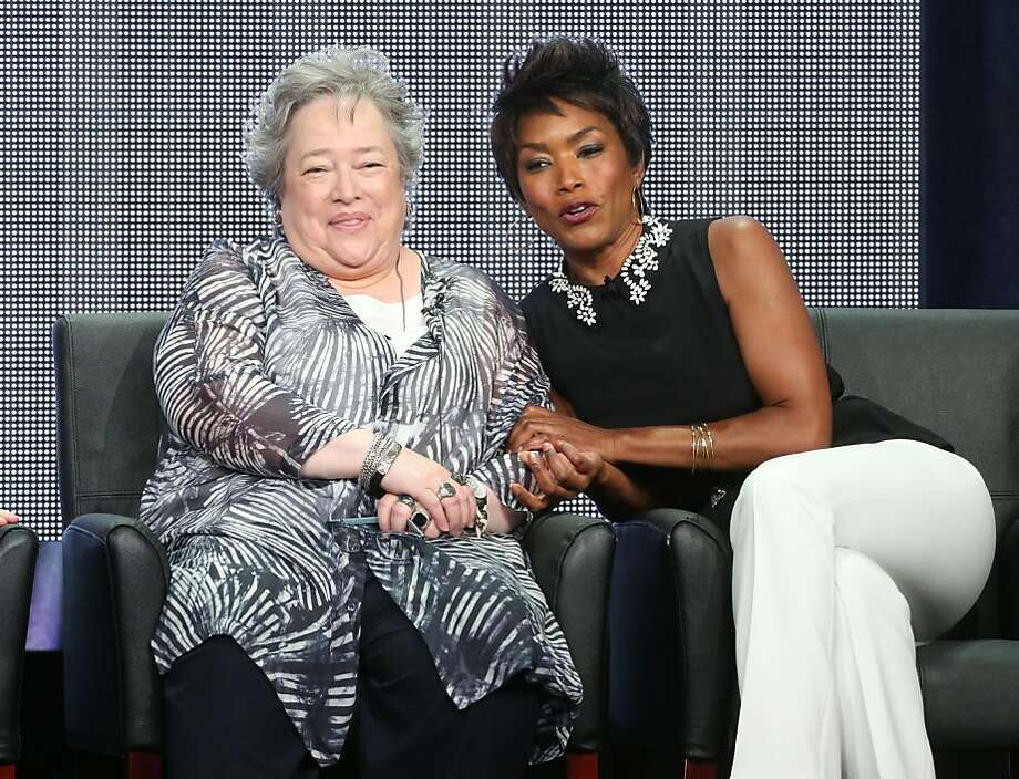 "Kathy Bates (left) and Angela Bassett, co-stars of the FX series ""American Horror Story: Coven,"" discuss the show and all things Hollywood during the TV critics tour. Photo: Frederick M. Brown, Getty Images"