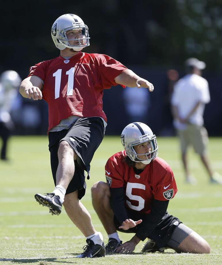 Oakland Raiders kicker Sebastian Janikowski, left, practices a field goal as holder Chris Kluwe, right, looks on during NFL football training camp Saturday, July 27, 2013, in Napa, Calif. (AP Photo/Eric Risberg) Photo: Eric Risberg, Associated Press