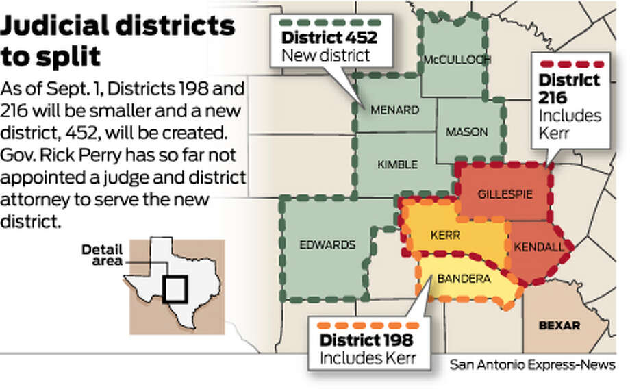 As of Sept. 1, Districts 198 and 216 will be smaller and a new district, 452, will be created.Gov. Rick Perry has so far not appointed a judge and district attorney to serve the new district. Photo: Mike Fisher