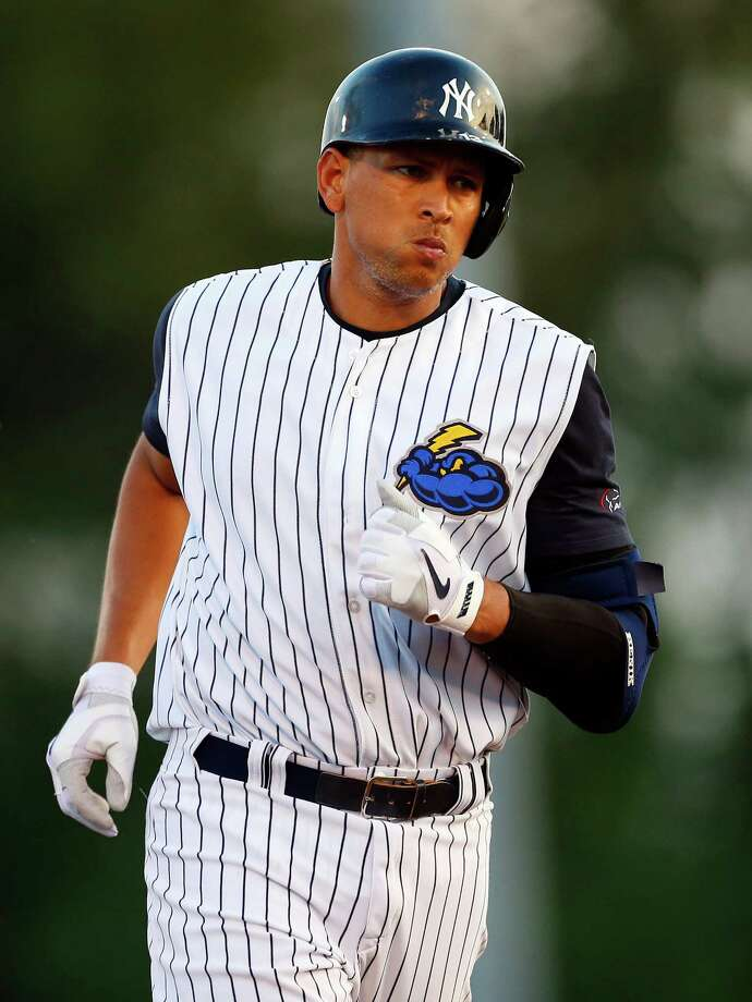 TRENTON, NJ - AUGUST 2:  Alex Rodriguez #13 of the New York Yankees rounds the bases after hitting a two-run home run in the third inning of a rehab game for the Trenton Thunder against the Redding Fightin Phils at Arm & Hammer on August 2, 2013 in Trenton, N.J.. (Photo by Rich Schultz/Getty Images) ORG XMIT: 175669171 Photo: Rich Schultz / 2013 Getty Images