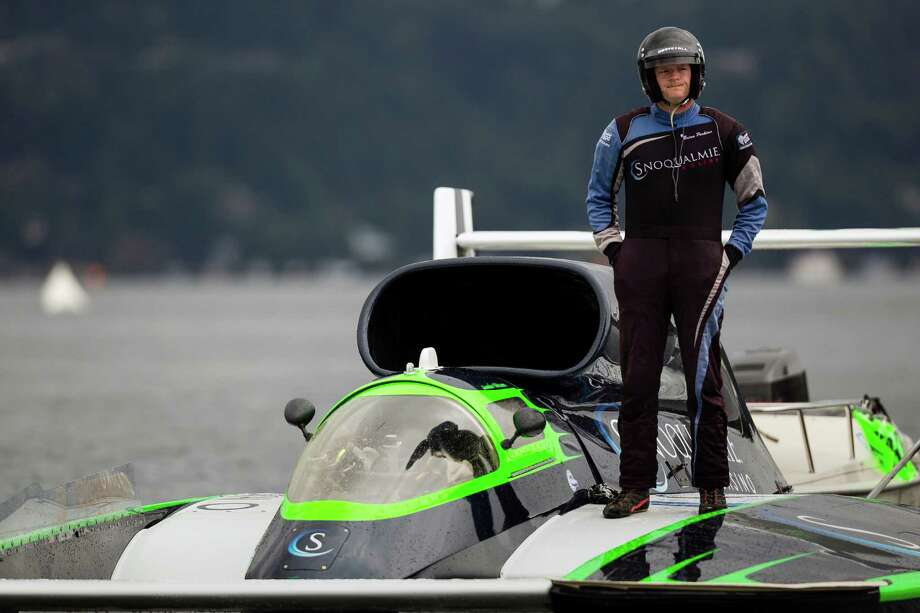 Jamie Nilsen, driver of the Snoqualmie Casino hydroplane, looks less than pleased about the rainy weather on the first day of the Albert Lee Appliance Cup at Seafair Friday, August 2, 2013, in Seattle. The hydroplanes, air shows and live music continues through Sunday. Photo: JORDAN STEAD, SEATTLEPI.COM / SEATTLEPI.COM