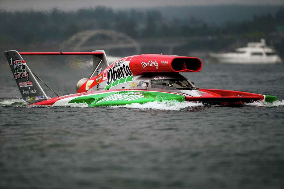 The Oh Boy! Oberto hydroplane takes to the water for a time trial on the first day of the Albert Lee Appliance Cup at Seafair Friday, August 2, 2013, in Seattle. The hydroplanes, air shows and live music continues through Sunday. Photo: JORDAN STEAD, SEATTLEPI.COM / SEATTLEPI.COM
