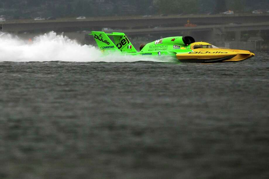 The Miss DiJulio hydroplane takes to the water for a time trial on the first day of the Albert Lee Appliance Cup at Seafair Friday, August 2, 2013, in Seattle. The hydroplanes, air shows and live music continues through Sunday. Photo: JORDAN STEAD, SEATTLEPI.COM / SEATTLEPI.COM